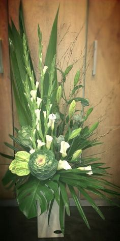 Tall Corporate Flower Arrangement - Greens & Whites