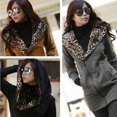 Women Winter Leopard Hoodie Zip Coat Long Sweatshirt Fleece Jacket S-M L XL XXL