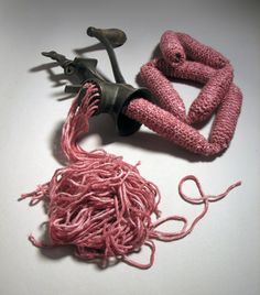 """""""It's What's For Dinner,"""" 2010, knitted yarn & old, meat grinder - staceyrchinn.com"""