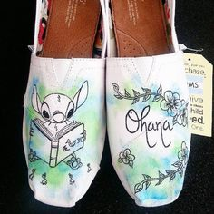 Disney Lilo And Stitch Ohana Custom Made Shoes by Brinkadoodle Painted Toms, Painted Canvas Shoes, Painted Sneakers, Hand Painted Shoes, Disney Toms Shoes, Disney Vans, Disney Diy, Disney Cruise, Lilo And Stitch Ohana