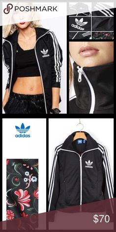 Adidas Track jacket Adidas Europa Track jacket, worn one time,in new condition.  An update to a classic '70s track jacket, the women's adidas Originals Europa Track Jacket zips you up in iconic 3-Stripes style. This jacket has side-seam pockets, a high stand-up collar, and a full mesh floral lining for extra comfort. Side-seam zip pockets. Full contrast zip with high stand-up collar. Full mesh lining. 52% Cotton / 48% polyester doubleknit. Imported. Adidas Jackets & Coats