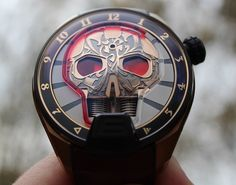 "HYT Skull Maori Watch Review - by Rob Nudds - on aBlogtoWatch.com ""HYT is a brand that likes to be different. If you're unfamiliar with this burgeoning operation, their brand message can be summed up in two simple words: watchmaking and fluids. In all of HYT's innovative timepieces, the hours are indicated by a coloured liquid that creeps through a custom capillary encircling (or traversing) the dial. It's a novel concept that the brand teams with avant-garde styling..."""