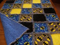 Baby Rag quilt made from Batman fabric Rag by stitchinawayboutique