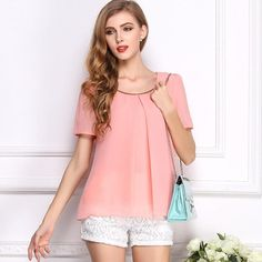 5a2b74ece01e 2015 New Korean Style Solid Chiffon Women Blouse Summer O-Neck Blouse 6  Sizes 10 Colors
