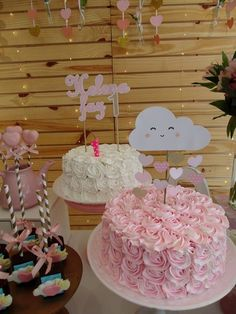 Cloud Party, 2nd Birthday Parties, Girl Birthday, Cloud Cake, Strawberry Shortcake Party, Rainbow Parties, Tea Party Baby Shower, Girl Cakes, Unicorn Party
