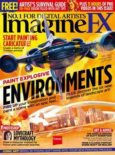 #ImagineFX 139. Paint explosive environments! Start painting #caricature! Art Tips, Landscape Art, Caricature, Painting, Computers, October, Magazine, Education, Magazine Covers