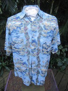 HAWAIIAN Aloha SHIRT S pit to pit 22 HILO HATTIE SILK ISLAND BEACHES VOLCANOS #SeeDescription #Hawaiian