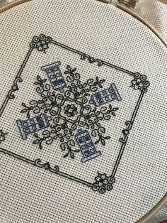 TARDIS Doctor Who Blackwork Pattern