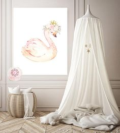 When it comes to baby lots of parents are excited to have their baby's best room by decorating the room to make it looks adorable and comfortable. Today in this article is about the baby's girl room for your ideas to decorate their adorable room! Fairy Nursery, Nursery Wall Art, Swan Nursery Decor, Whimsical Nursery, Floral Printables, Floral Wall Art, Inspirational Wall Art, Nursery Themes, Girl Room