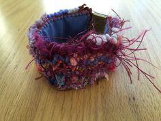 Bracelet: purple pink red fiber art fabric by DunroaminFarmDesign