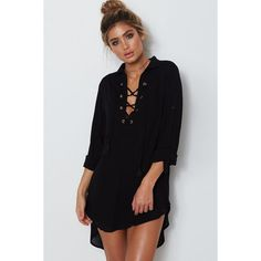 Black V Neck Lace Up Casual Chiffon High Low Shirt Dress (160 SEK) ❤ liked on Polyvore featuring dresses, special occasion dresses, chiffon evening dresses, shirt dress, v neck shift dress and chiffon high-low dresses