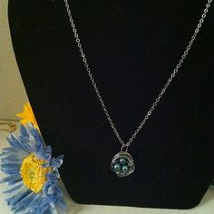 Blue pearl bird nest necklace by CraftsbyMelrose on Etsy, $8.95