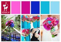 Bright Pink & Blue Wedding Inspiration Colour Board - By Designcat - Hot Pink, Cerise, Royal Blue, tiffany