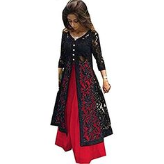 Z Fashion Women's Red & Black Color Indo-Western Lehenga Choli Western Lehenga, Lehenga Choli, Red Black, Lady In Red, Dresses With Sleeves, Amazon, Long Sleeve, Womens Fashion, Clothing