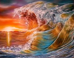 Waves, painting, ocean,scene,seascape,sunset,sunrise,beautiful,images,wall,art,vivid,colorful,multicolor,bright,gold,golden,orange,impressive,contemporary,modern,awesome,cool,home,office,decor,nature,water,rough,crashing,breaking,splashing,big,high,spray,light,oil painting,items,ideas, fine art america