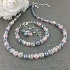 Gris et Blush bijoux collier de perles par DaisyBeadzJoaillerie