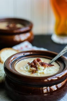 Cheddar-Ale Soup - a rich and creamy soup topped with crispy bacon.