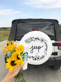 White Floral Jeep Tire Cover