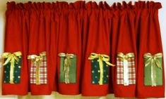 Christmas Valance - my favorite Country Christmas, Christmas Home, Christmas Windows, Christmas Valances, Christmas Chair Covers, Curtain Designs, Christmas Stockings, Christmas Ornaments, Christmas Wishes