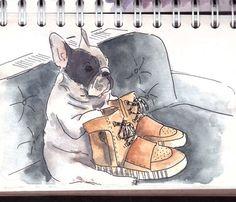 аrenchie frenchbulldog watercolor waterblog watercolorillustration иллюстрация бульдог скетч акварель