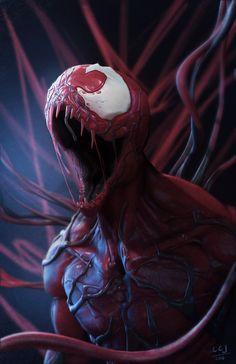 Carnage by Lionel Cornelius Jr on ArtStation Marvel Venom, Marvel Villains, Marvel Comics Art, Marvel Vs, Marvel Heroes, Anime Comics, Captain Marvel, Comic Book Characters, Marvel Characters