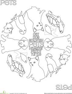 Pet coloring page for preschool lesson on veterinarians