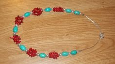 Turquoise and Coral Necklace by trevor4995 on Etsy, $20.00