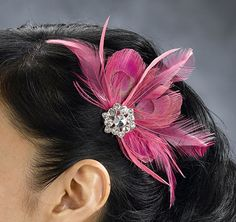 54e93b3fba29 Hot Pink Feather Hair Clip Ornement, Plume, Foulard, Cheveux, Fleurs, Robes