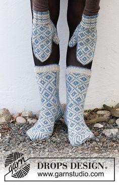 Drops Design, Knit Mittens, Knitting Socks, Knitting Patterns Free, Free Knitting, Fjord, Cast Off, Labor, Crochet Diagram