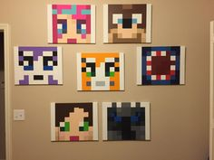 Minecraft Painting  Acrylic Painted Canvas 16'' by MinecraftMyRoom