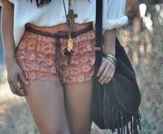 layered lace shorts in peach.
