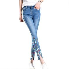 Skinny Jeans With Embroidery Ankle Pencil Pants Slim Elastic Denim Pants Printing Leggins For Women Hole Jeggings Jeans