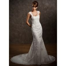 [US$ 216.99] Trumpet/Mermaid Sweetheart Chapel Train Satin Tulle Wedding Dress With Lace Beading (002011449)