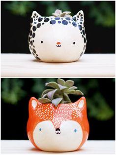 mini pot de fleurs pour cactus succulente chat renard