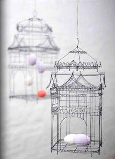 wire birdcage-decor