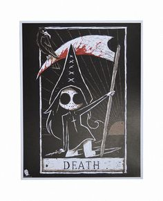 A gorgeous high quality print of our Tokyo Chan character holding a scythe in our portrayal of the Death Tarot card. - Signed by Joey, the artist (on back of print, unless otherwise specified) - Print