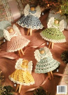 Knitting Patterns combine Maybe use doilies from dollar store?Christmas Clothespin Angels, Crochet Angel Ornaments Pattern, L… Crochet Ornament Patterns, Crochet Angel Pattern, Crochet Angels, Crochet Patterns, Knitting Patterns, Crochet Christmas Ornaments, Holiday Crochet, Angel Ornaments, Christmas Angels