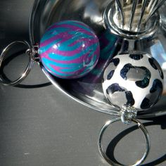 Hand Painted Ball Key Fob with Animal Print by muraldevotee, $14.95