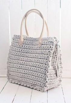 Big nude bag for work Shopper bag Boho big bag Elegant bag Tote bag Everyday women's bag Bag with eco-leather handles - Crochet Bag Tutorials, Crochet Purse Patterns, Crochet Tote, Bag Patterns To Sew, Crochet Handbags, Crochet Purses, Free Crochet, Crochet Summer, Nude Bags