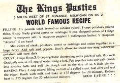 Original King's Pasties recipe