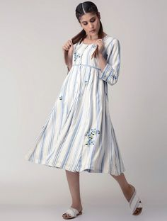 Buy OHAR White-Blue Handwoven Gathered Organic Cotton Dress with Embroidery online Western Dresses, Western Wear, Casual Wear, Casual Dresses, Casual Shirt, Short Outfits, Spring Outfits, Embroidery Online, Embroidery Designs