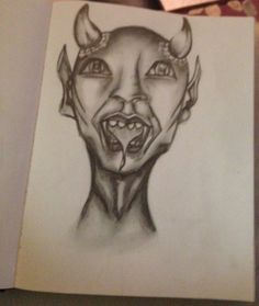 Pencil drawing of monster