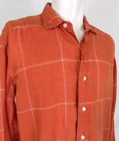 Tommy Bahama Linen Flip Cuff Casual Shirt Men's Medium Orange White Check Summer #TommyBahama #ButtonFront