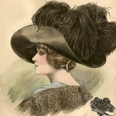 Antique 1911 Paris Fashion Plate Featuring Ladies Hats From La Belle Epoque French Millinery, Pl 793