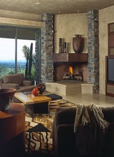 A contemporary take on the stone fireplace | Paula Berg Design