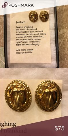 Collectible pierced earrings Great gift for those who believe in Justice... Jewelry Earrings