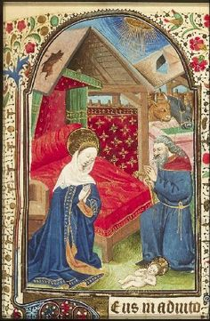 The Hague, KB, 76 G 5 fol. 59r Hours of the Virgin The Nativity: the adoration of the Christ-child by Mary and St. Joseph