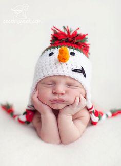 snowman crochet hat pattern newborn infant by SweetBabiesinYarn, $3.99
