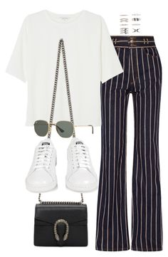 """Sin título #3604"" by camilae97 ❤ liked on Polyvore featuring Marc Jacobs, Monki, Gucci, adidas, Ray-Ban and Forever 21"