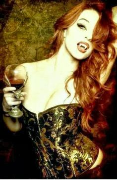 Ancient Greeks believed that redheads turn into vampires after death. Lets hope this is true. ALWAYS wanted to be a vampire lol Vampire Love, Gothic Vampire, Vampire Art, Vampire Fangs, Red Hair Vampire, Vampire Pics, Dark Beauty, Gothic Beauty, Dracula